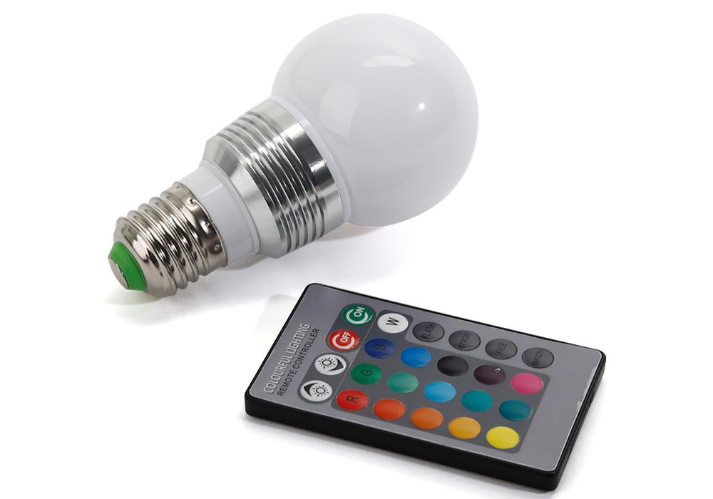 3w rgb bunte led birne farbwechsel lampe gl hbirne gl hlampe mit fernbedienung ebay. Black Bedroom Furniture Sets. Home Design Ideas