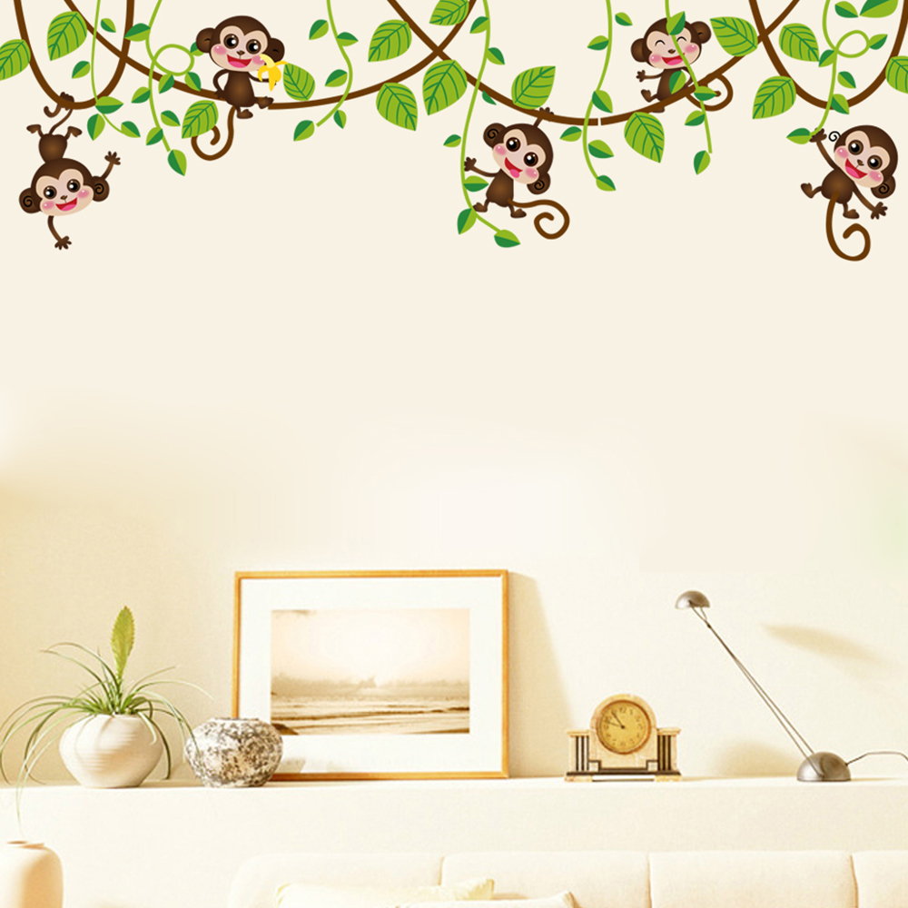 affe baum wandtattoo wandsticker kinderzimmer wandaufkleber deko monkey stickers ebay. Black Bedroom Furniture Sets. Home Design Ideas