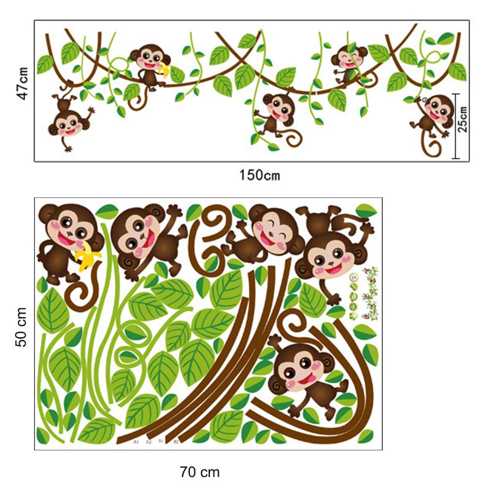 affe baum wandtattoo wandsticker kinderzimmer wandaufkleber deko monkey stickers ebay. Black Bedroom Furniture Sets. Home Design Ideas