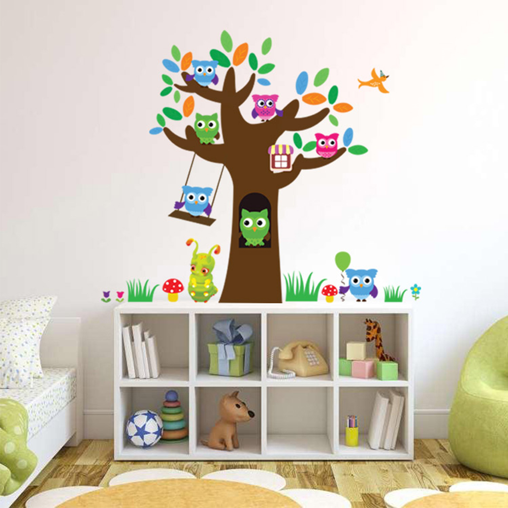 wandtattoo baum eule tiere wald wandaufkleber wandsticker kinderzimmer raum deko ebay. Black Bedroom Furniture Sets. Home Design Ideas