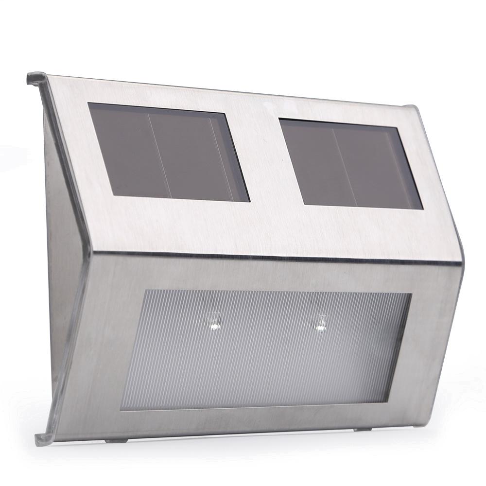 6x solarleuchte wandleuchte solarlampe gartenleuchte led edelstahl strahler ebay. Black Bedroom Furniture Sets. Home Design Ideas