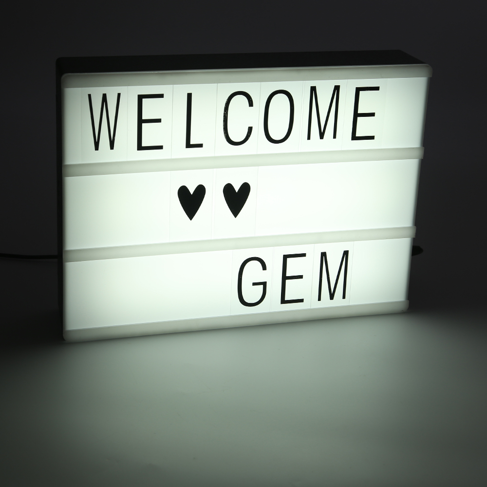 a4 light up letter box cinematic led sign wedding party cinema plaque shop 5v ebay. Black Bedroom Furniture Sets. Home Design Ideas
