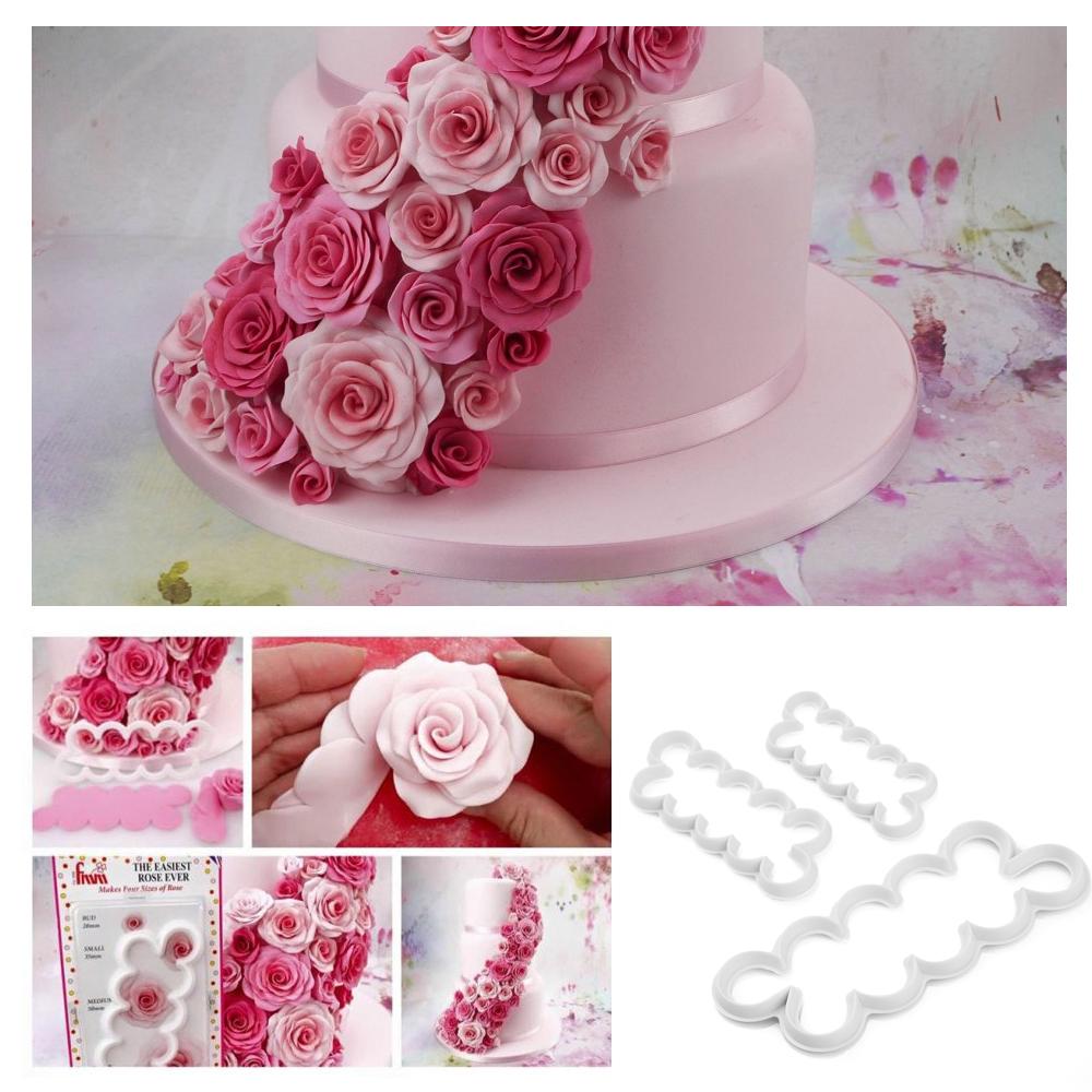 3er rose cutter blumen cuter auswerfer fondant kuchen - Ebay kuchen ...
