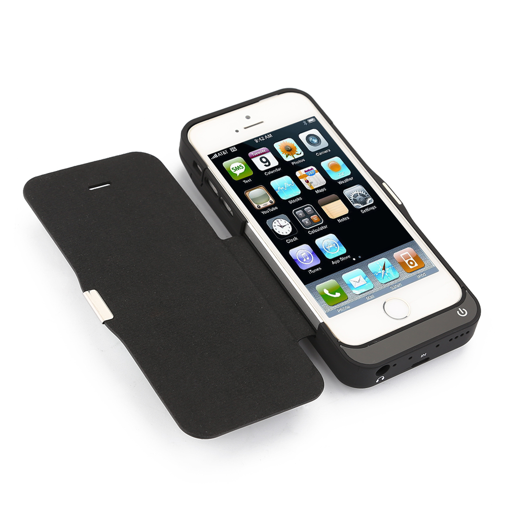 iphone 5 5s 5c 7000mah power pack external battery charger case flip cover ebay. Black Bedroom Furniture Sets. Home Design Ideas