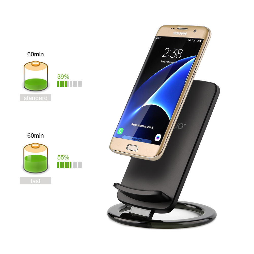 fast qi wireless charger charging pad stand dock f samsung galaxy s8 s8 s7 s6 ebay. Black Bedroom Furniture Sets. Home Design Ideas