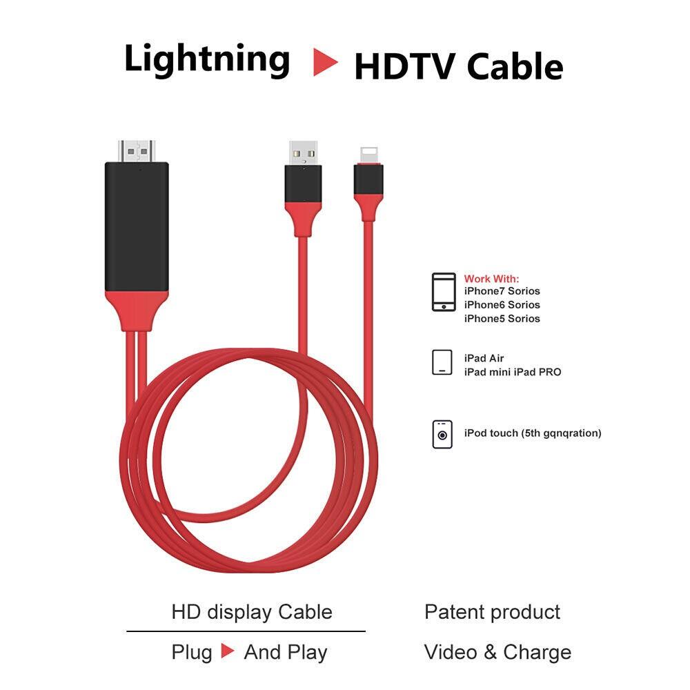 Lightning To Hdmi Cable Hdtv Tv Digital Av Adapter For