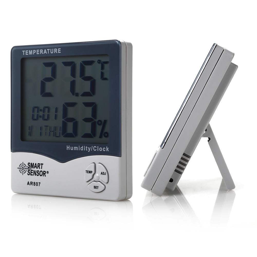 lcd digital innen au en hygrometer thermometer luftfeuchtigkeit raumklima uhr ebay. Black Bedroom Furniture Sets. Home Design Ideas