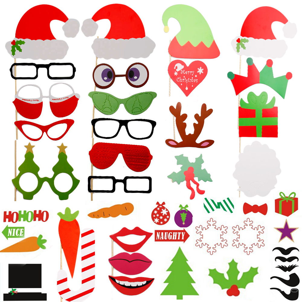 Photo Booth Weihnachten.Details Zu 31 76pcs Photo Booth Props Mustache Christmas On A Stick Party Fun Photography