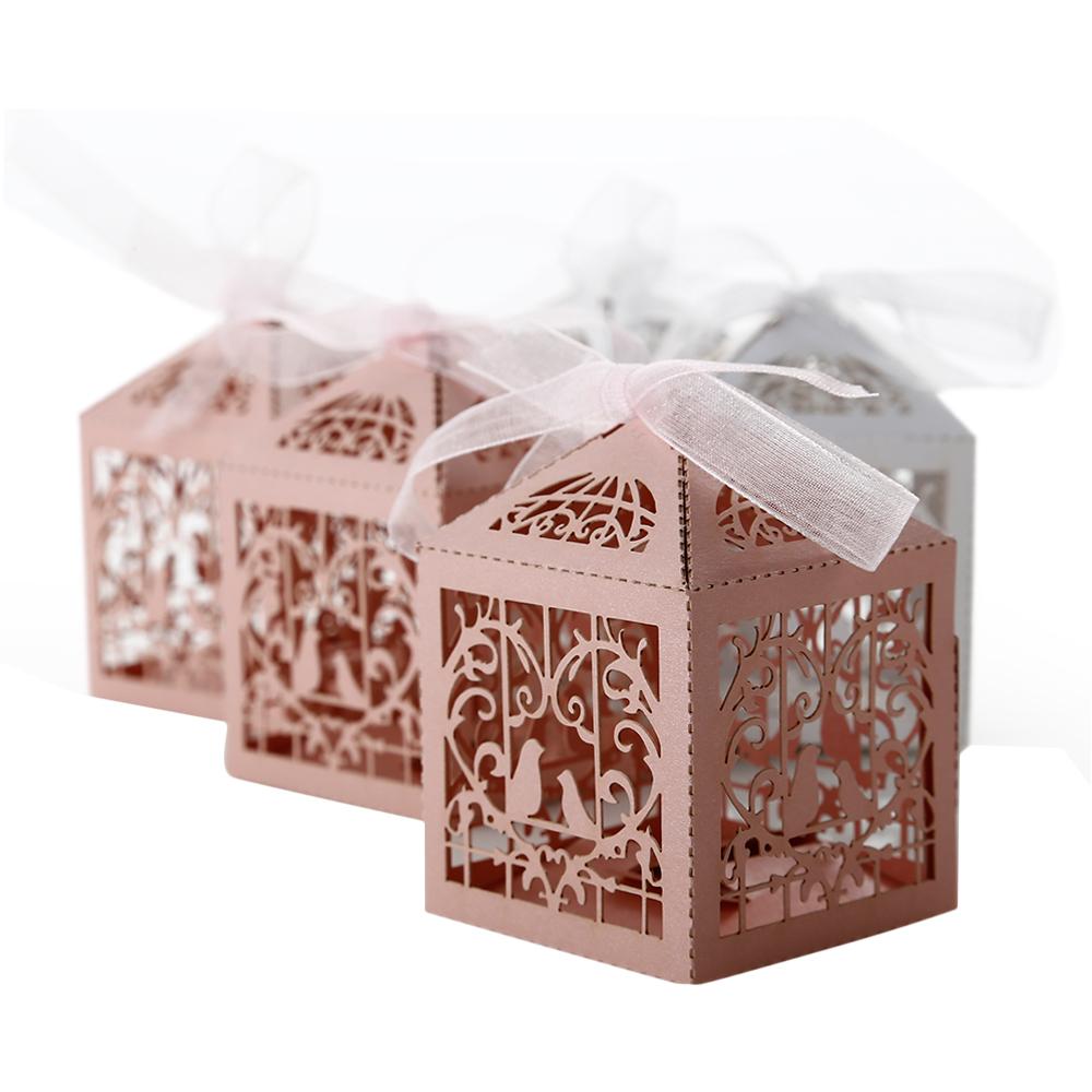 50tlg gastgeschenke hochzeit geschenkboxen geschenkschachtel candy box rosa wei ebay. Black Bedroom Furniture Sets. Home Design Ideas