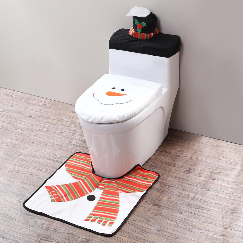 weihnachts badezimmer schneemann toiletten nikolaus tank deckel weihnachtsdeko ebay. Black Bedroom Furniture Sets. Home Design Ideas