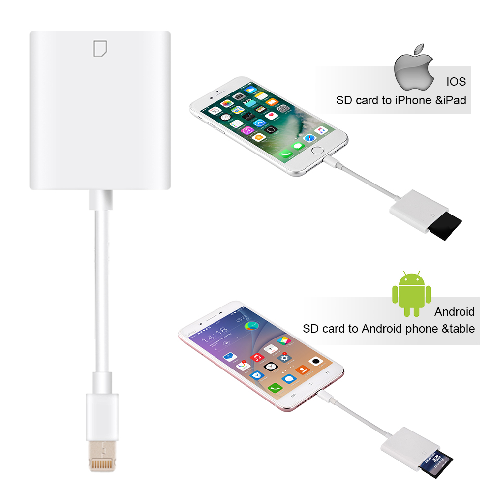 2 in 1 lightning to kartenleser sd card adapter f r ipad iphone android ebay. Black Bedroom Furniture Sets. Home Design Ideas