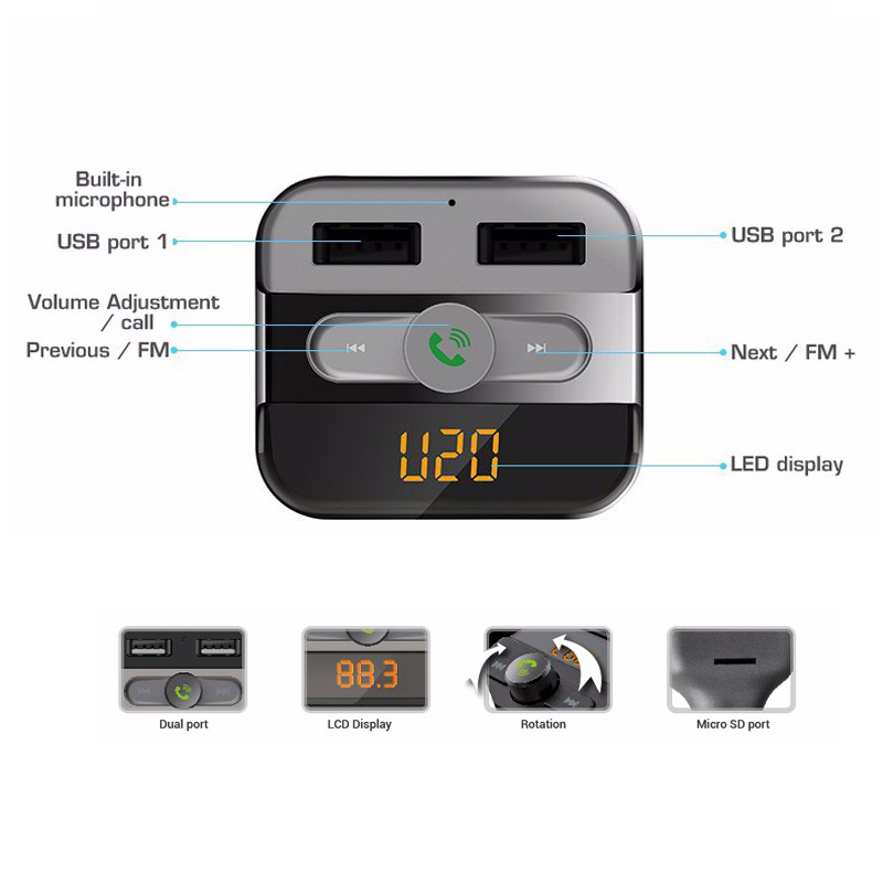 auto bluetooth fm transmitter mp3 usb sd tf kfz. Black Bedroom Furniture Sets. Home Design Ideas