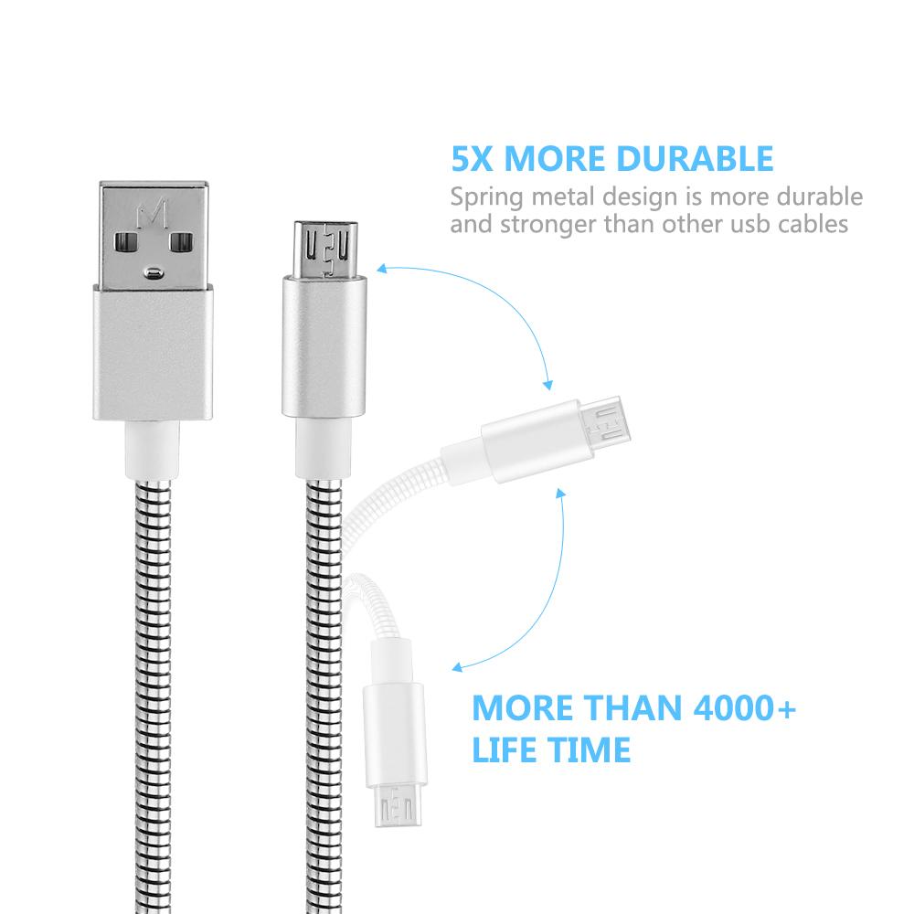 Micro USB Schnell Kabel Ladekabel Metall Geflochtene für Samsung ...