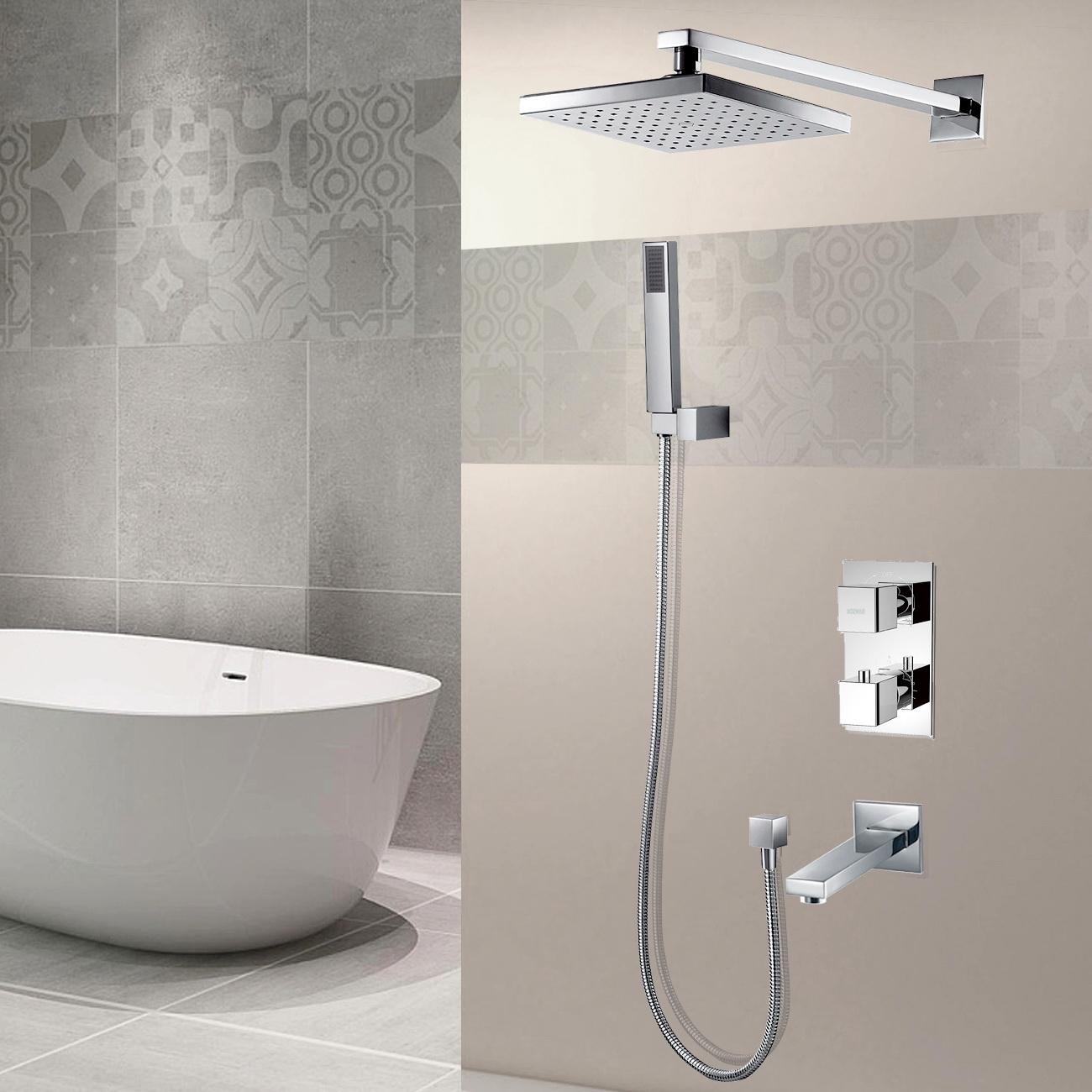 unterputz duscharmatur set thermostat regendusche brausearmatur mit 3 duschk pfe 6000000102814. Black Bedroom Furniture Sets. Home Design Ideas