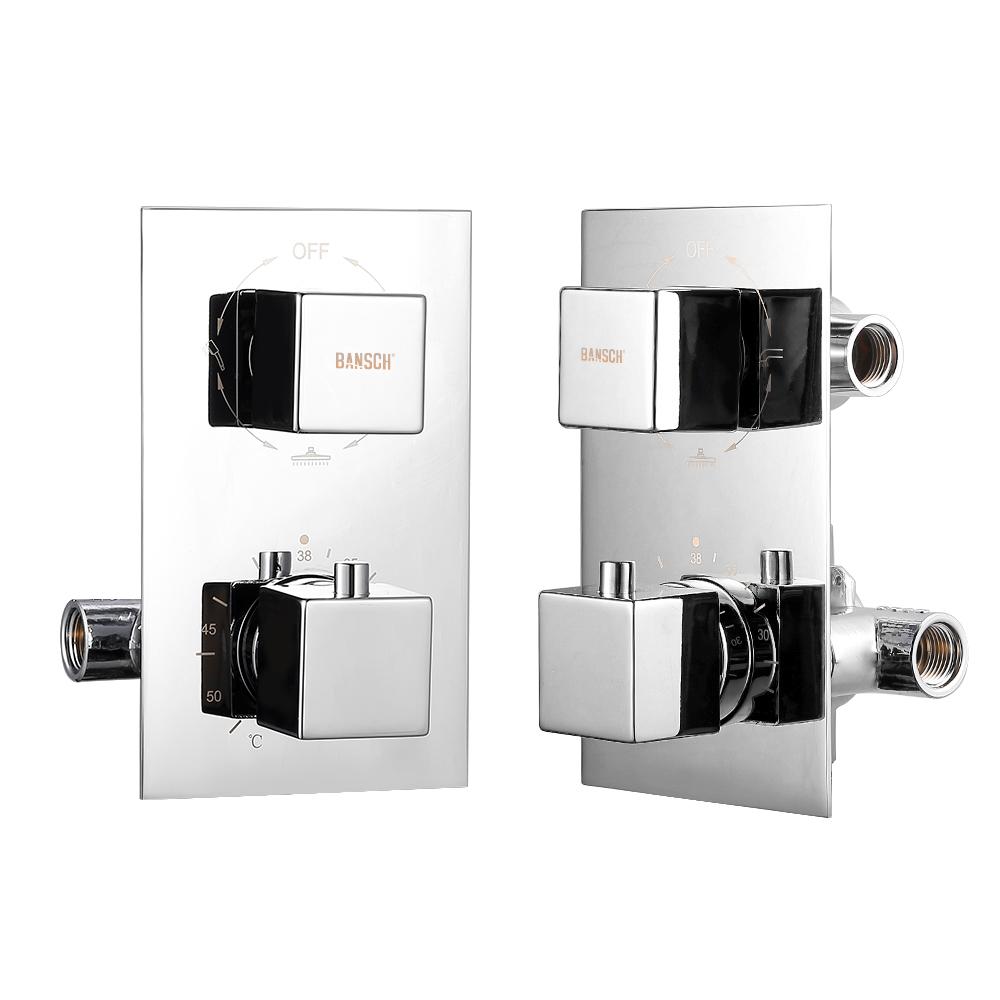 unterputz duscharmatur thermostat set duschsystem 3 handbrause duschss ule eckig ebay. Black Bedroom Furniture Sets. Home Design Ideas